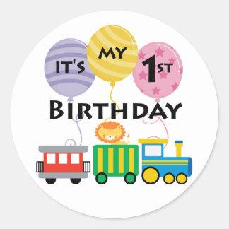 1r Cumpleaños del tren del cumpleaños Pegatina Redonda