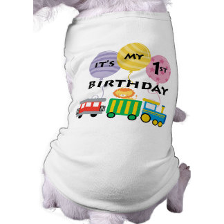 1r Cumpleaños del tren del cumpleaños Playera Sin Mangas Para Perro