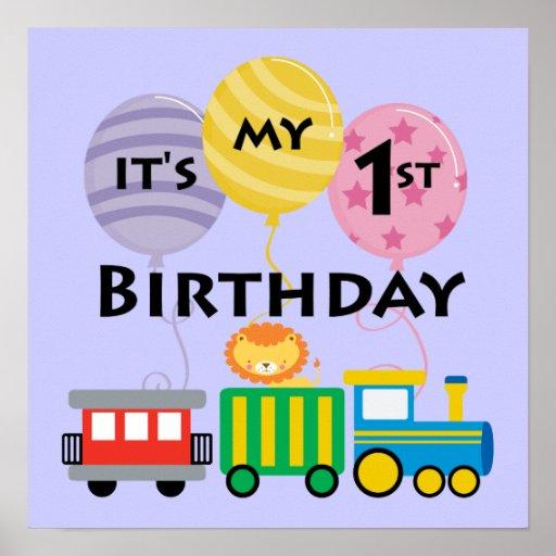 1r Cumpleaños del tren del cumpleaños Poster