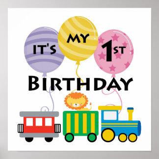 1r Cumpleaños del tren del cumpleaños Póster