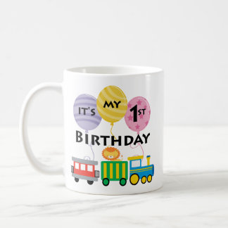 1r Cumpleaños del tren del cumpleaños Tazas De Café