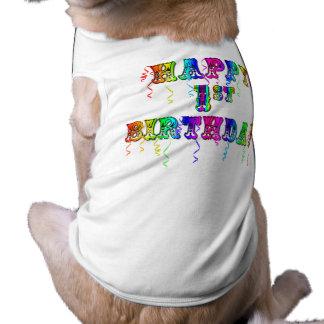 1r cumpleaños feliz - camisa del perro del playera sin mangas para perro