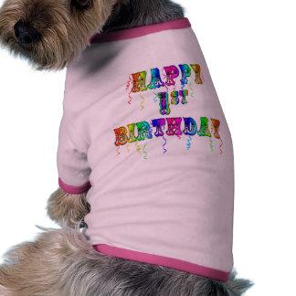 1r cumpleaños feliz - camisa del perro del camiseta con mangas para perro