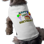 1r cumpleaños feliz con la torta, los globos y la  ropa para mascota
