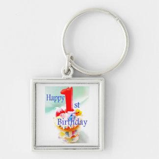 1r cumpleaños feliz llavero cuadrado plateado