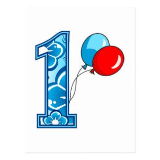 1r Cumpleaños floral y globos Postal