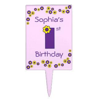 1r cumpleaños lindo en la púrpura de Flores Decoración De Tarta