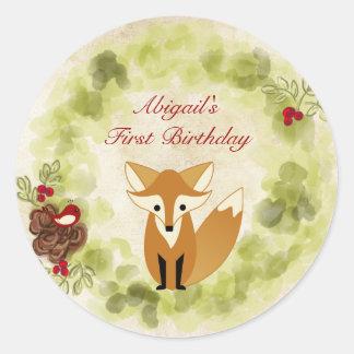 1r cumpleaños lindo personalizado del Fox y de la Pegatina Redonda
