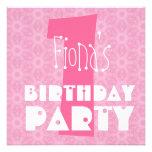 1r Cumpleaños V005 floral rosado moderno Invitacion Personalizada