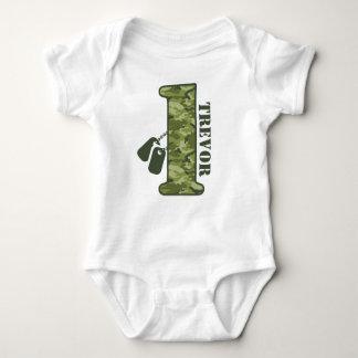 1r cumpleaños verde de Camo Mameluco De Bebé