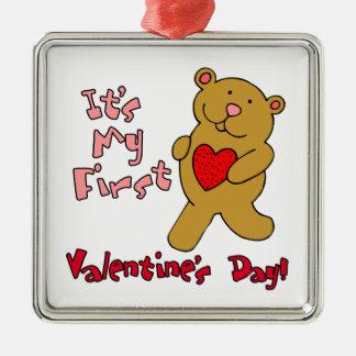 1r Día de San Valentín Adorno Navideño Cuadrado De Metal