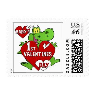 1r día de San Valentín del cocodrilo Sello