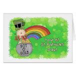 1r día del St. Patricks del bebé Felicitacion