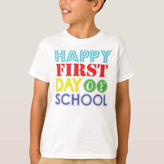1r día feliz de camiseta de los escolares