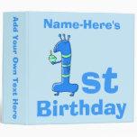 1r dibujo animado del cumpleaños, en azul. Nombre