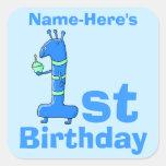 1r dibujo animado del cumpleaños, en azul. Nombre Calcomanías Cuadradases