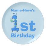 1r dibujo animado del cumpleaños, en azul. Nombre  Plato De Comida