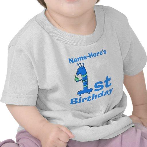 1r dibujo animado del cumpleaños, en azul. Nombre  Camisetas
