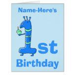 1r dibujo animado del cumpleaños, en azul. Nombre  Tarjetas
