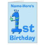 1r dibujo animado del cumpleaños, en azul. Nombre  Tarjeta