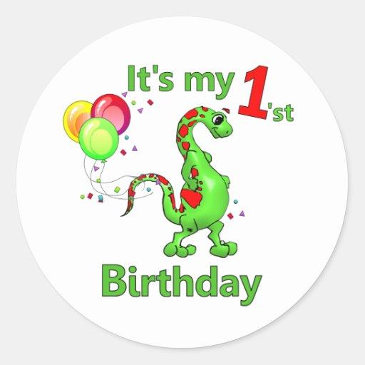 1r Dinosaurio del cumpleaños Etiquetas Redondas