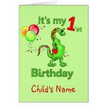 1r Dinosaurio del cumpleaños Felicitacion