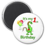 1r Dinosaurio del cumpleaños Imán Para Frigorifico