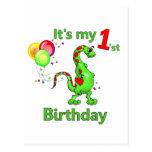 1r Dinosaurio del cumpleaños Tarjeta Postal