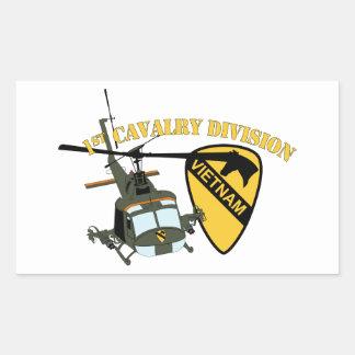 1r División de la caballería - Vietnam - Huey Pegatina Rectangular