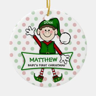 1r duende Boy2 del navidad del bebé (brunette) Ornaments Para Arbol De Navidad