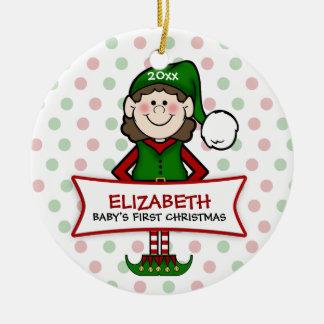 1r duende Girl1 del navidad del bebé (brunette) Ornamentos De Reyes Magos