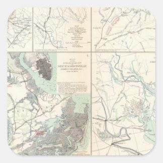 1r Ejército del cuerpo de Virginia Secessionville Pegatina Cuadrada