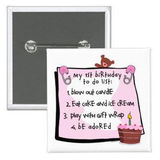 1r El cumpleaños hizo rosa Pin