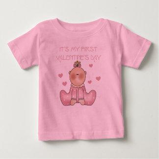 1r el día de San Valentín de la niña Playera De Bebé