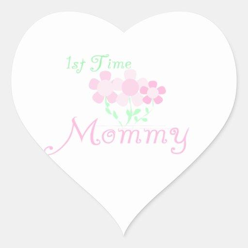 1r El rosa de la mamá del tiempo florece los Calcomania Corazon