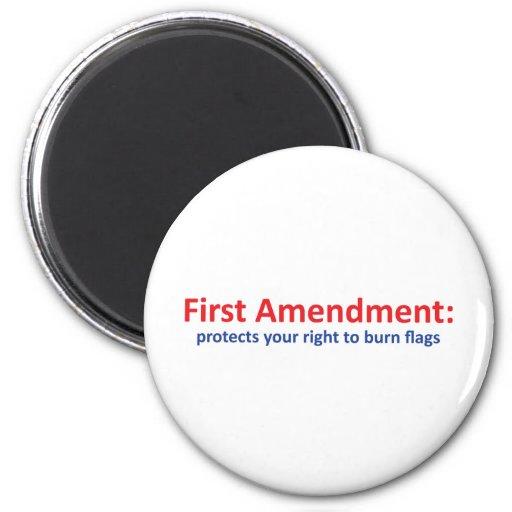 1r Enmienda: protege la su derecha de quemar bande Imán Redondo 5 Cm