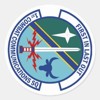 1r Escuadrilla de las comunicaciones del combate Pegatina Redonda