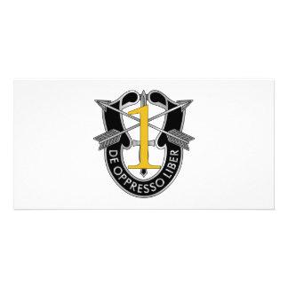 1r Escudo del grupo de las fuerzas especiales Tarjeta Fotográfica
