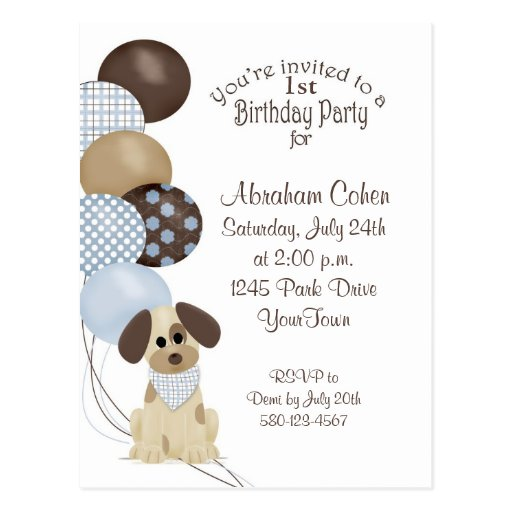 1r Fiesta de cumpleaños con el perrito y los globo Tarjetas Postales