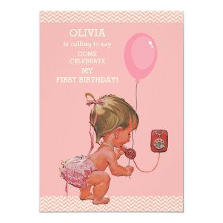 """1r Galones del globo del teléfono de la niña del Invitación 5"""" X 7"""""""