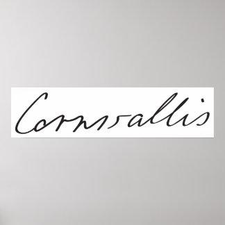1r General Charles Cornwallis Signature del marqué Posters