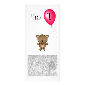 1r Globo del rojo del oso del cumpleaños Lonas Personalizadas