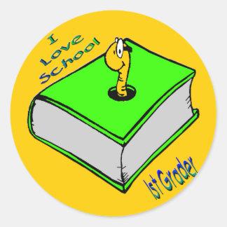 1r graduador del ratón de biblioteca - escuela del pegatina redonda