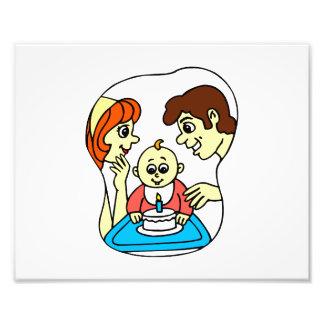 1r gráfico del cumpleaños del bebé con la familia arte con fotos