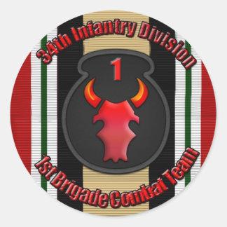 1r Identificación del BCT 34to Pegatina Redonda