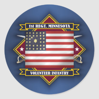 1r Infantería de Minnesota Pegatina Redonda