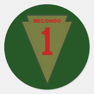 1r Infantería Recondo Pegatina Redonda