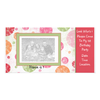 1r Invitación de PhotoCard del cumpleaños Tarjetas Fotográficas Personalizadas