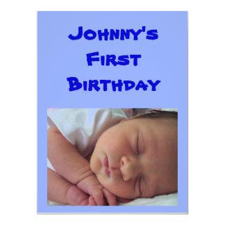1r Invitación del cumpleaños para los muchachos Invitación 16,5 X 22,2 Cm