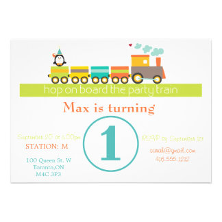 1r Invitación del tren del muchacho del cumpleaños